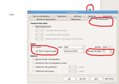 R solu pagination commencer la page 10 consulter le - Numerotation des pages sur open office ...